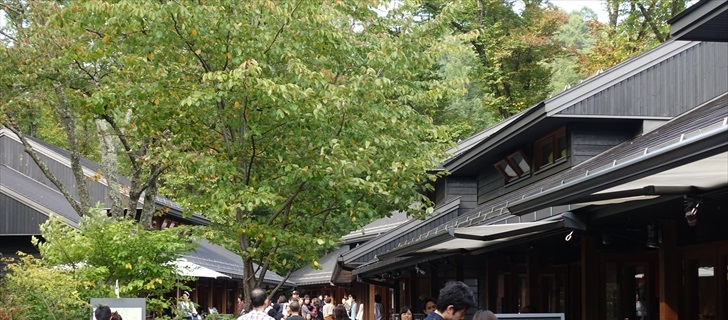 軽井沢星野エリアのハルニレテラスが秋の気配に包まれています