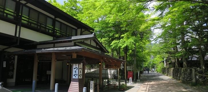 軽井沢のつるや旅館が新緑になっています