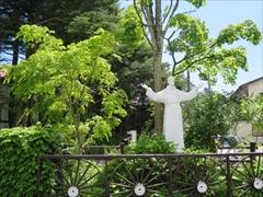 聖パウロカトリック教会 イエスキリスト像 若葉 新緑 軽井沢