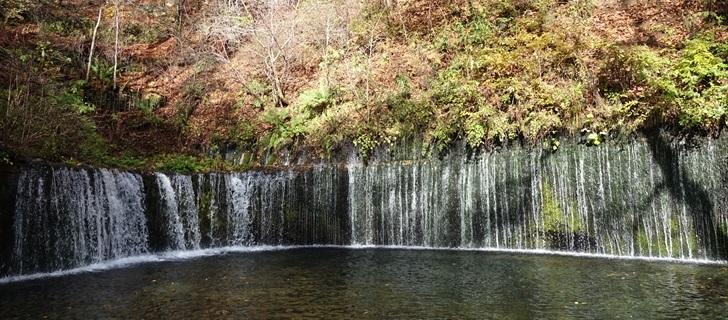 軽井沢 白糸の滝 黄葉が散っています 2017年10月30日晴れ