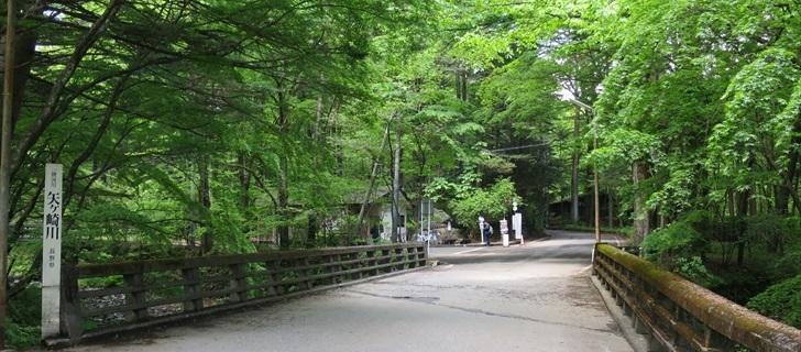 軽井沢の二手橋が新緑になっています