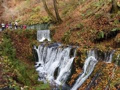 軽井沢 白糸の滝 滝から川へ流れ込むミニ滝
