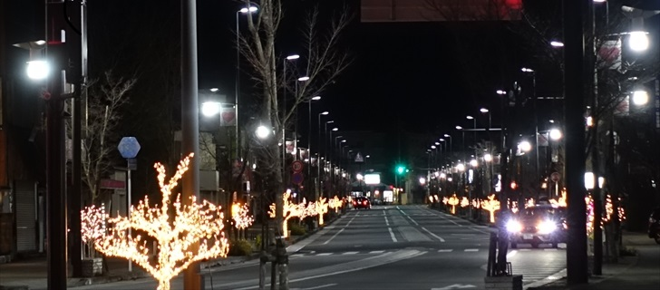 軽井沢 軽井沢駅前の本通りのイルミネーションが綺麗です 2017年11月26日