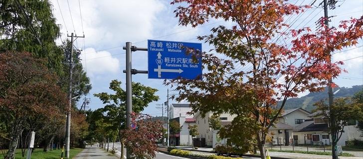 軽井沢 国道18号の街路樹のモミジが色付き始めています